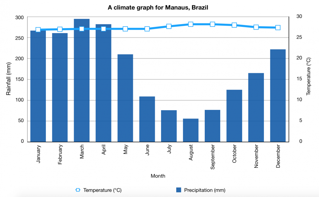 Climate Graph Tropical Rainforest Manaus Brazil
