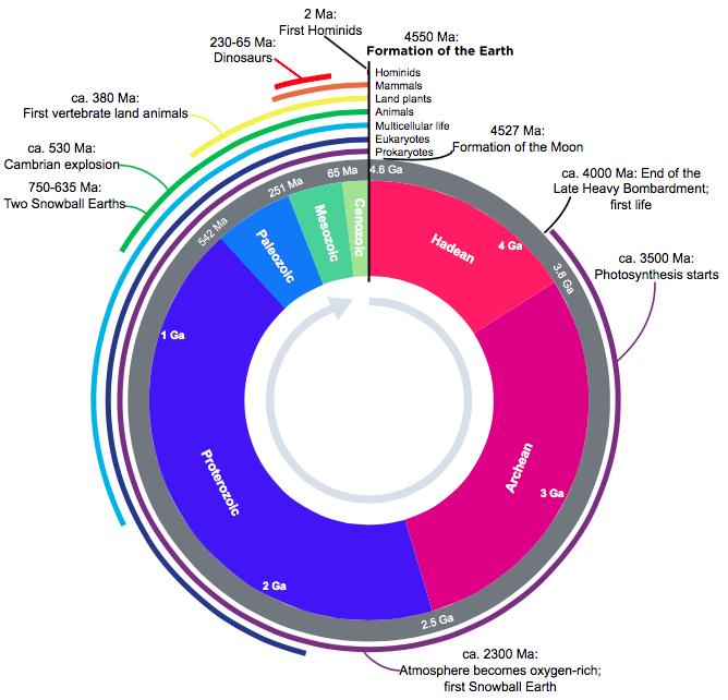 Earth timeline - Source:Wikipedia