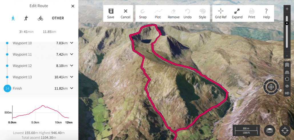 A 3D image of Helvellyn with a route plotted.