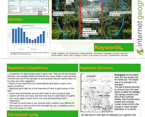 Tropical Rainforest Knowledge Organiser