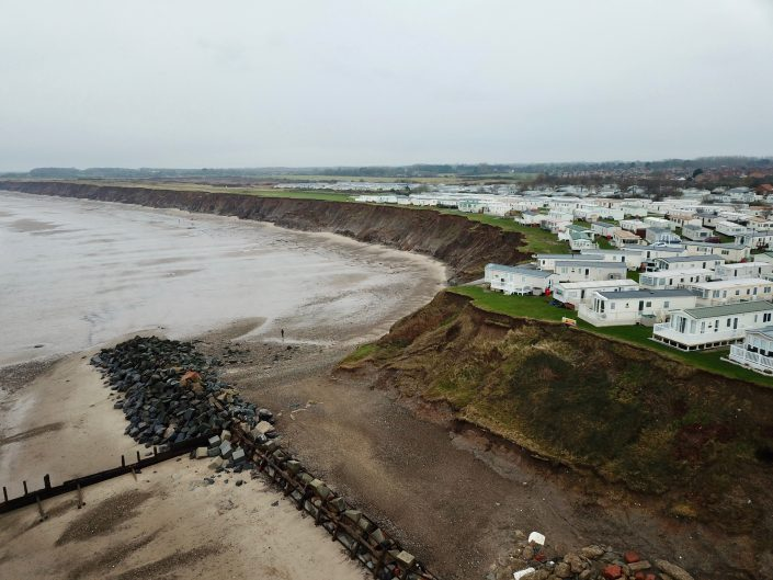 View south towards the terminal groyne and caravan park
