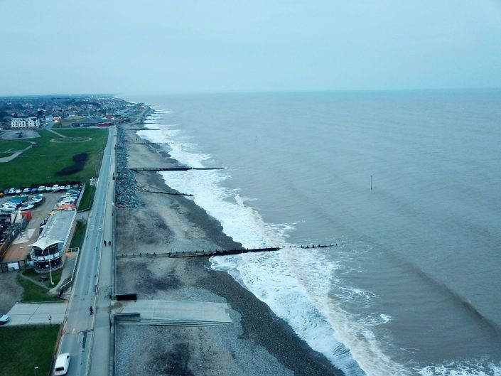 The view north along the Hornsea sea front.