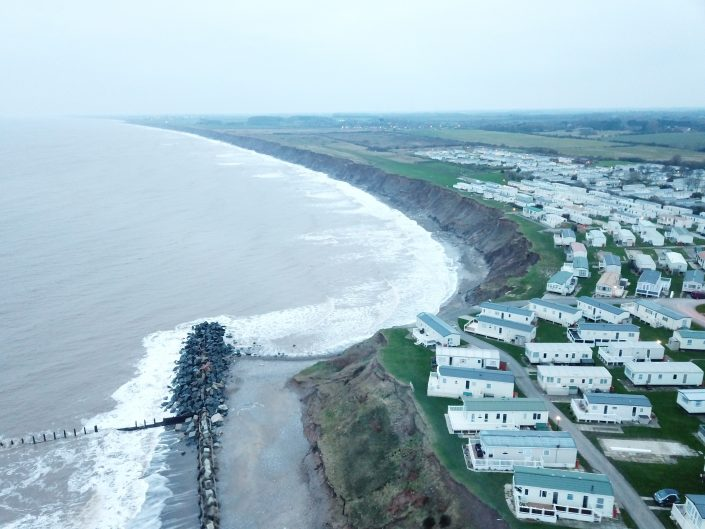 The view to the south of Hornsea. There is clear evidence of erosion where the defences stop.