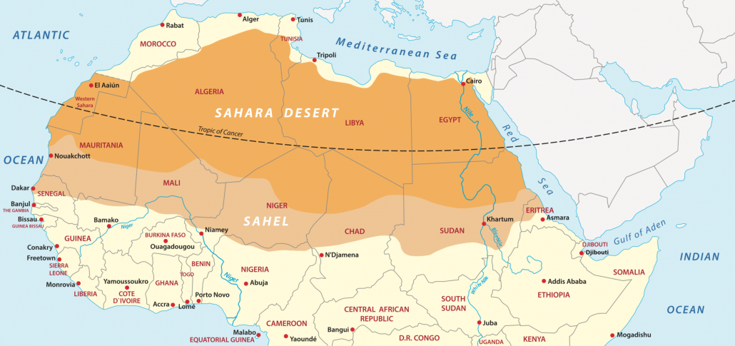 A map to show the location of the Sahara Desert in North Africa