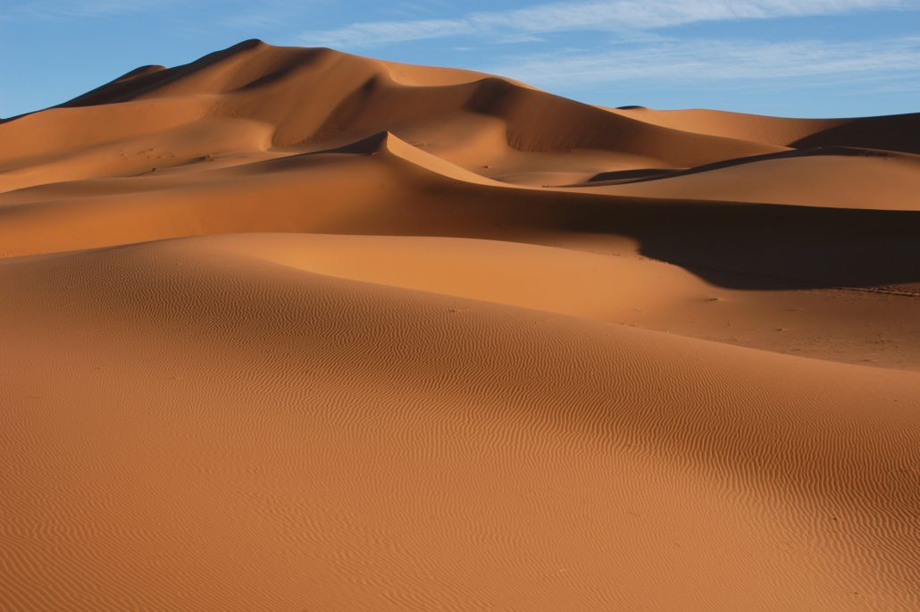 The sand dunes of Erg Chebbi in the Sahara desert near the village of Merzouga in Morocco.