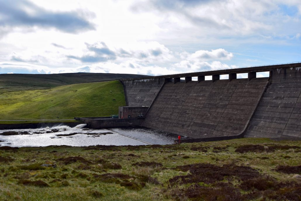 The dam at Cow Green Reservoir, River Tees.