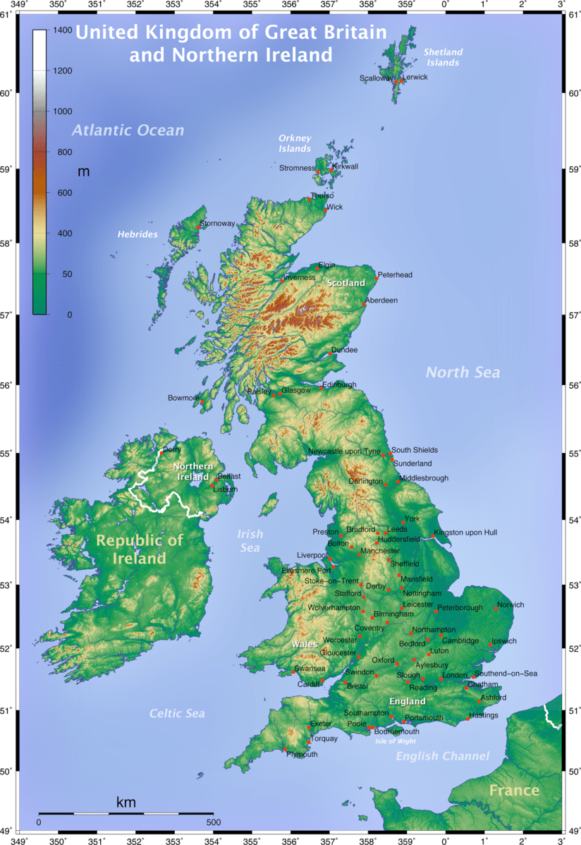 Map Of Uk And Ireland With Cities.Distribution Of Population And The Major Cities In The Uk Internet