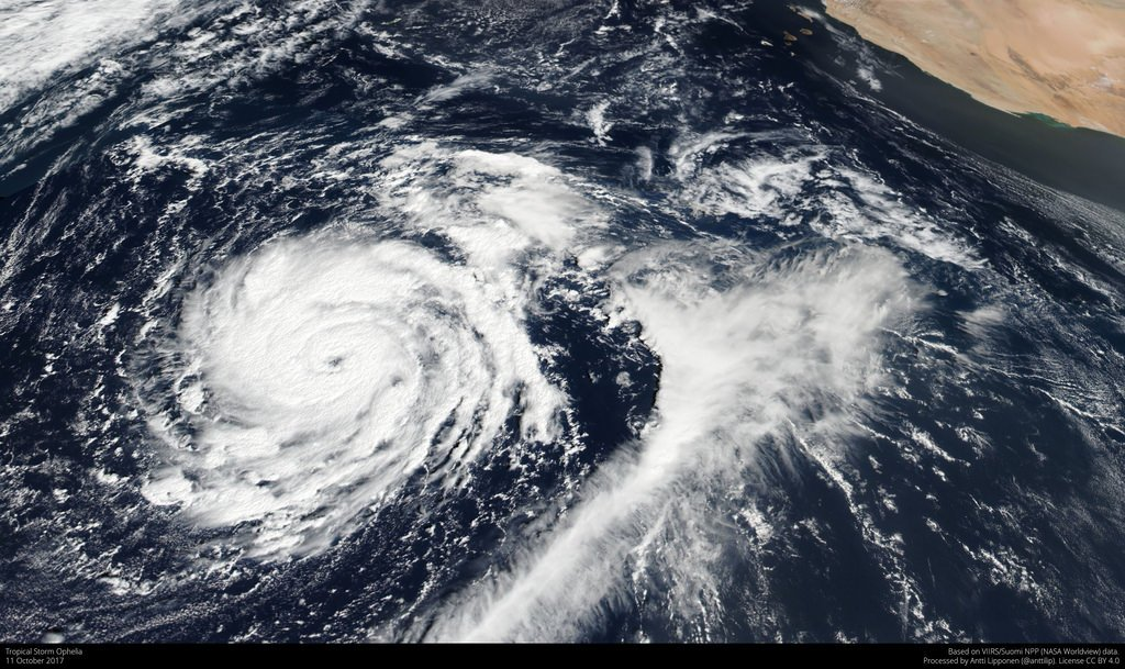 A satellite image of a tropical storm