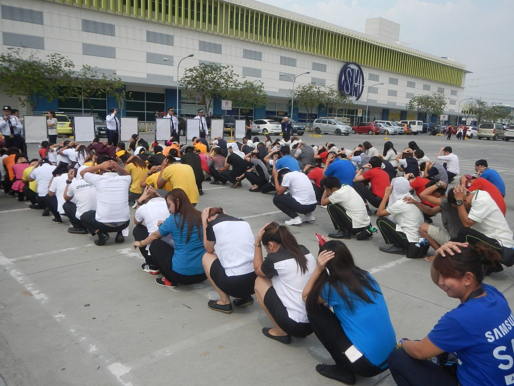 An image of an earthquake drill