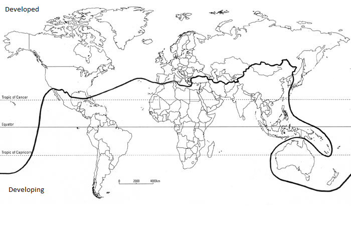 A world map showing the Brandt Line