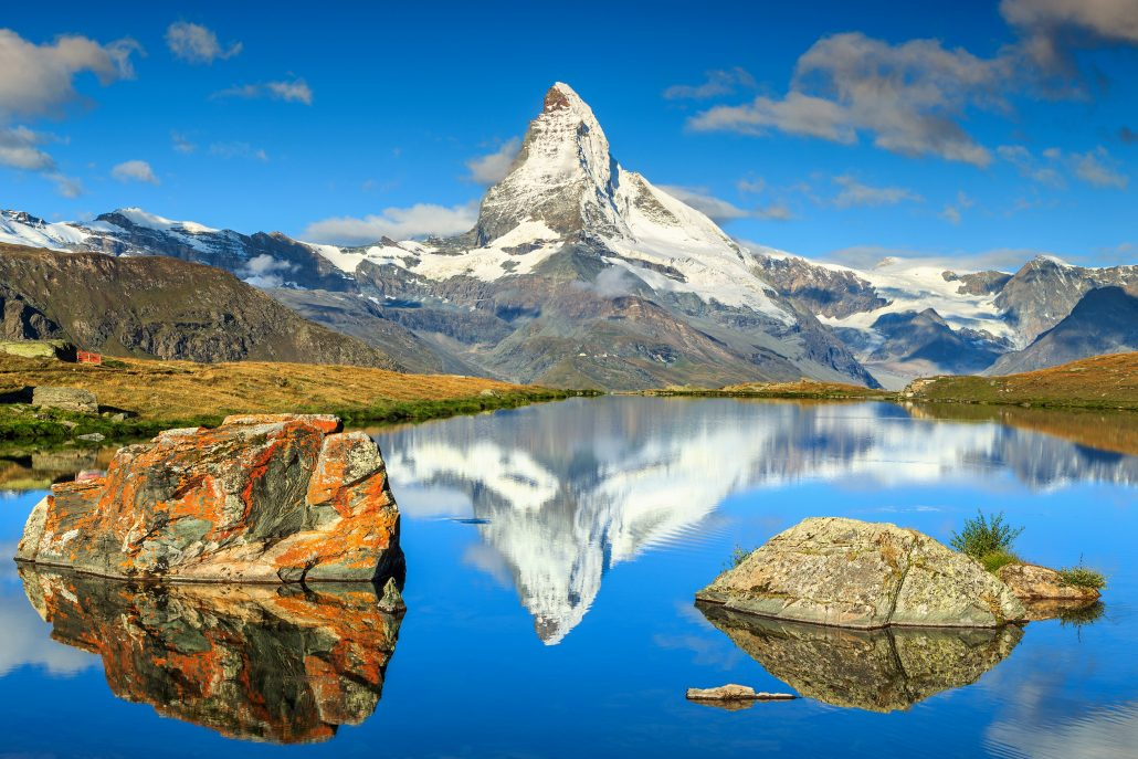 The Matterhorn, a pyramidal peak in the Alps, Switzerland.
