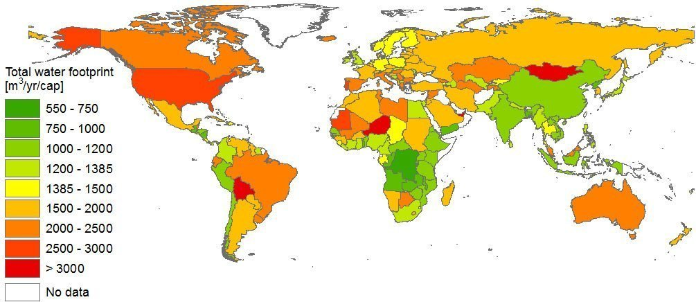Total water footprint per capita