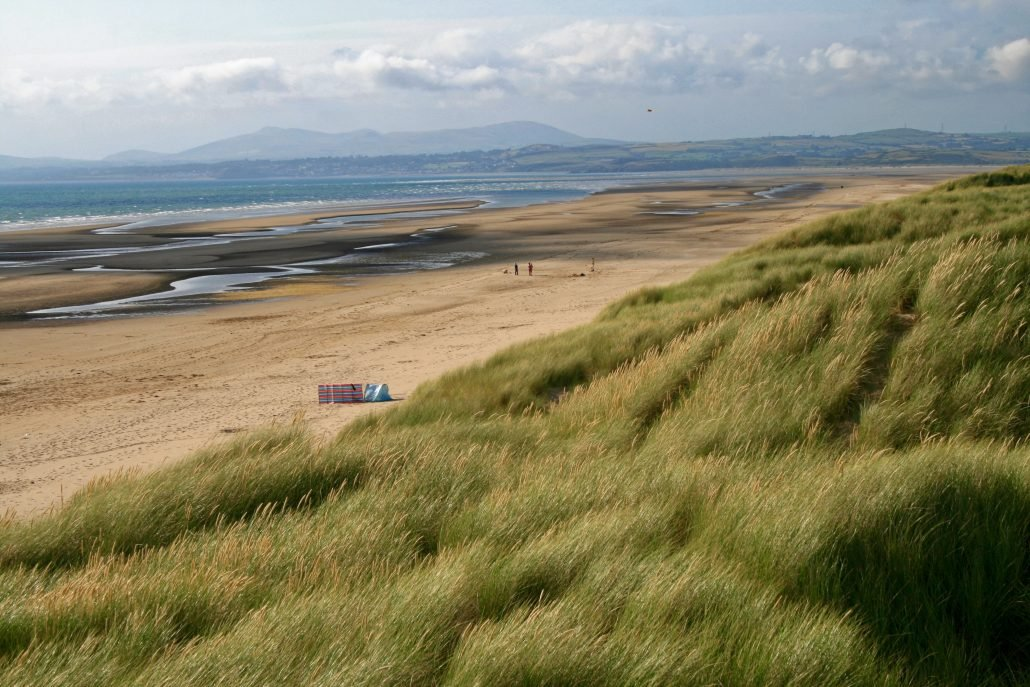 A beach with a large tidal range