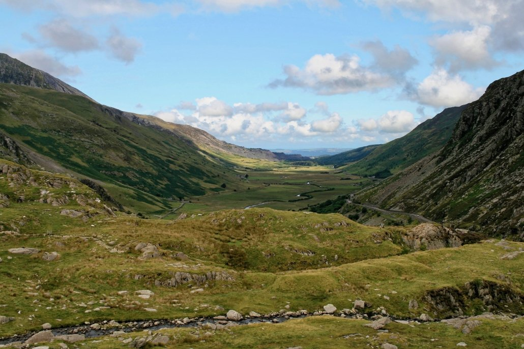 Nant Ffrancon, a u-shaped valley in Snowdonia.