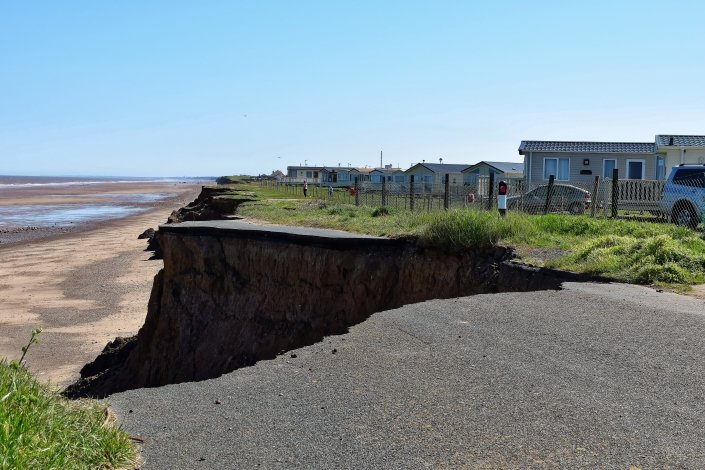 Erosion of the coastal road that linked Ulrome and Skipsea