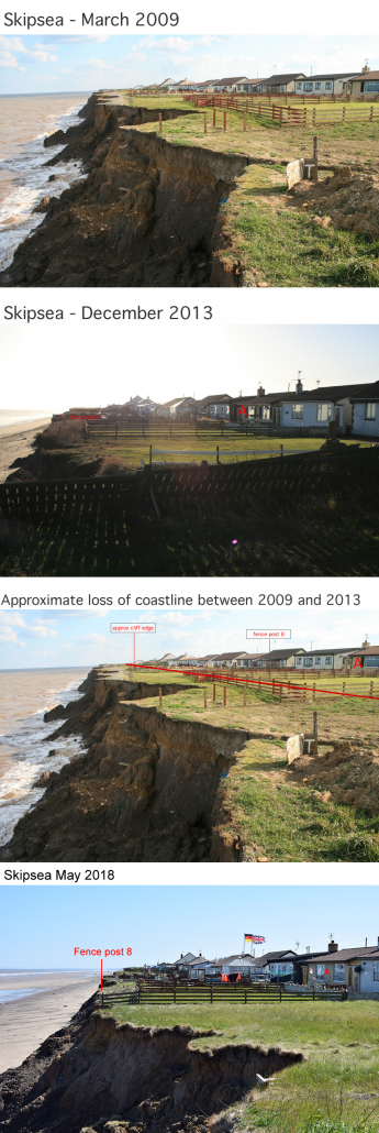 Coastline changes at Skipsea between 2009 and 2018.