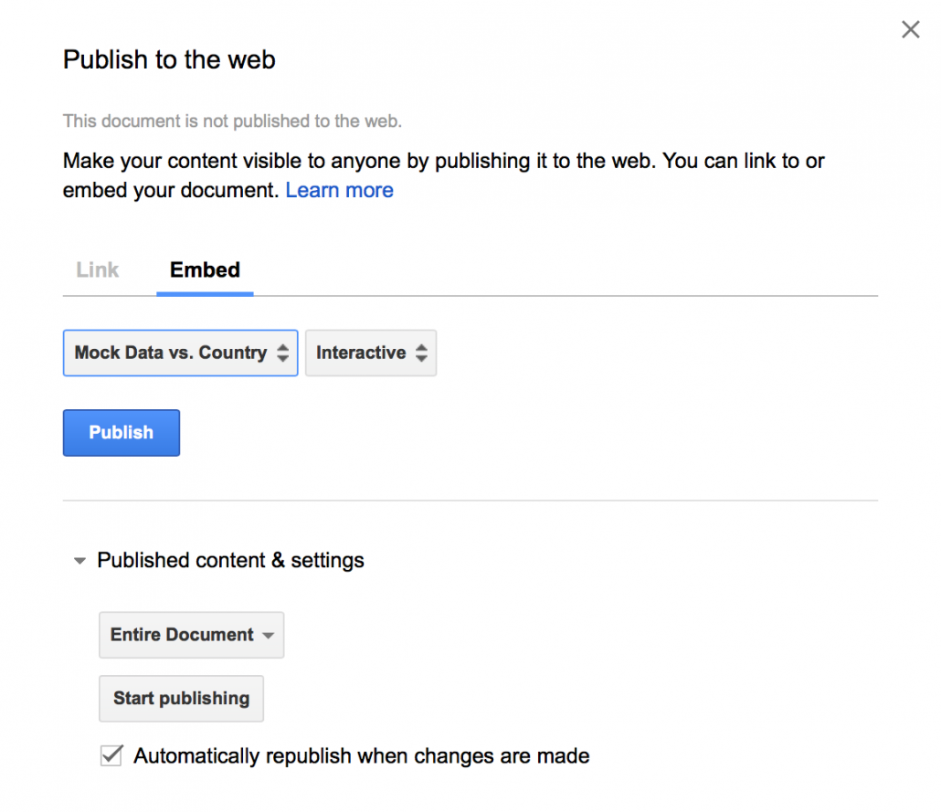 Screenshot showing how to publish to web
