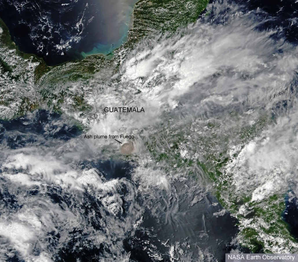 A satellite image showing the ash cloud from the eruption of Fuego. Source - NASA Earth Observatory
