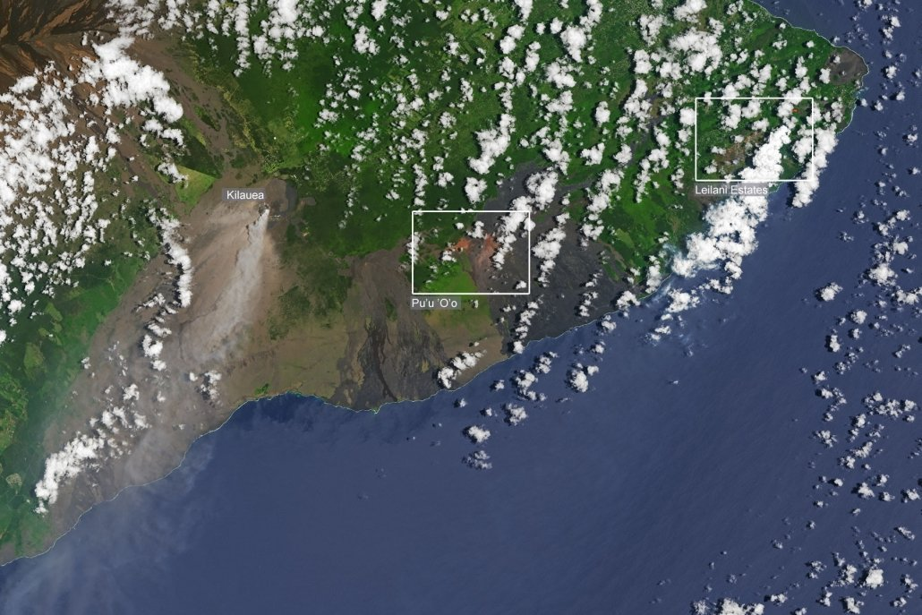 Satellite image showing Kilauea and the recent fissures