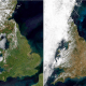 Satellite image showing Britain in May 2018 and July 2018