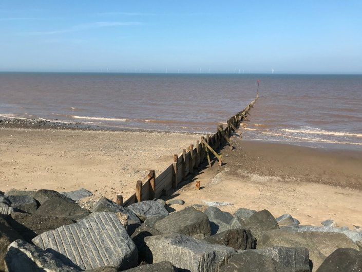 Groyne and rock armour at Withernsea