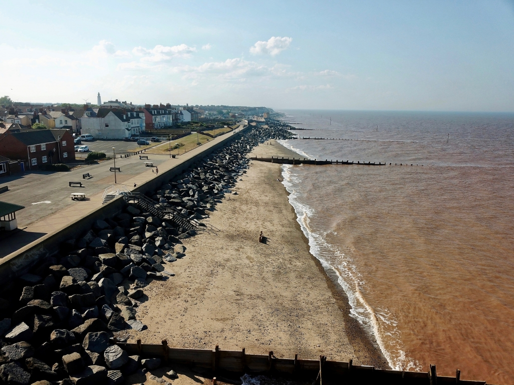 Sea wall, rock armour and groynes at Withernsea - view north