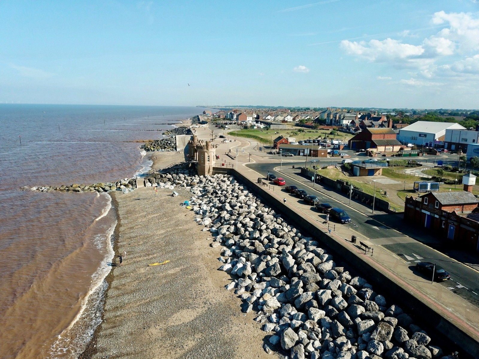 Coastal defences at Withernsea - view south