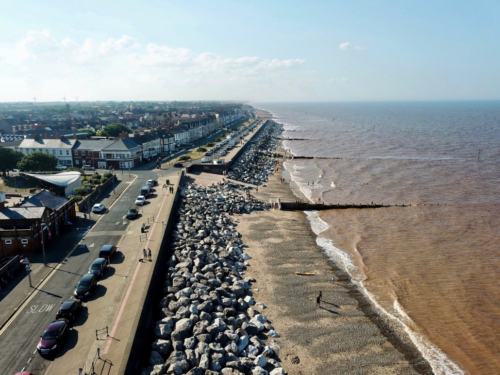 Coastal defences at Withernsea - view north