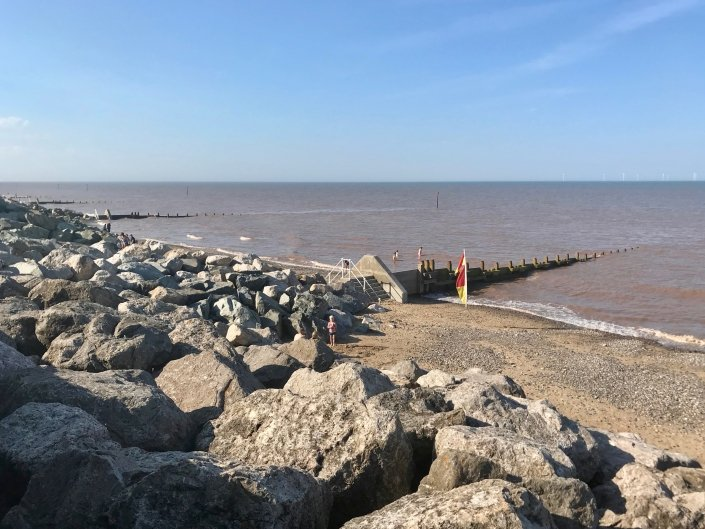 Rock armour and groynes at Withernsea