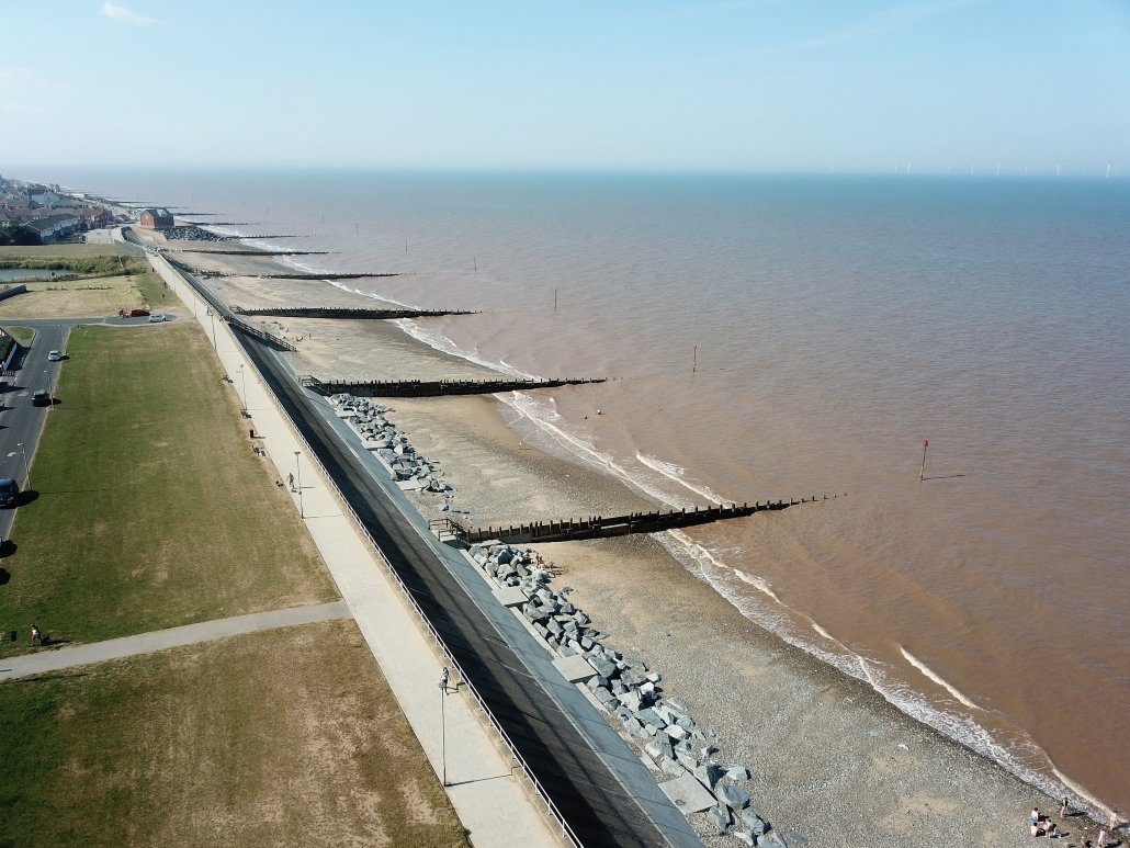 Sea defences at Withernsea - view north