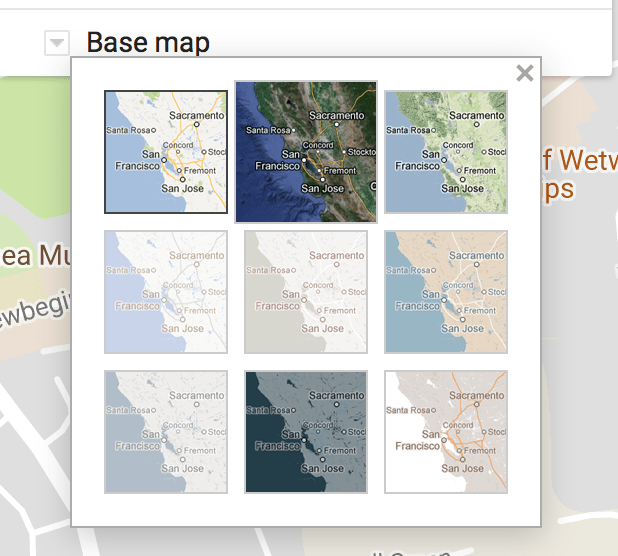 Switch base map view to satellite