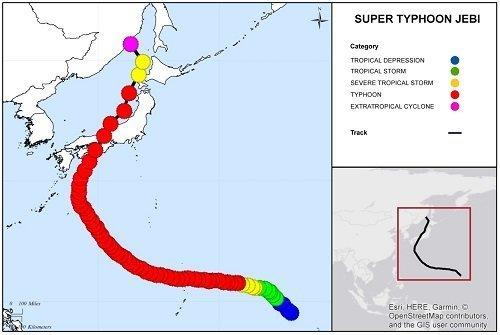 The pathway Typhoon Jebi followed - source: http://www.gccapitalideas.com/2018/09/06/super-typhoon-jebi/