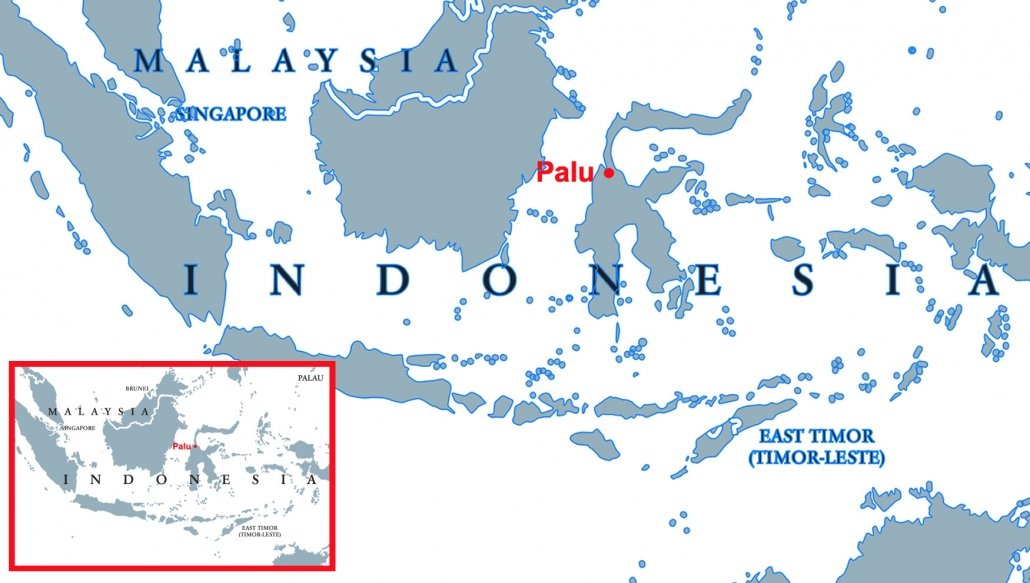 A map to show the location of Palu