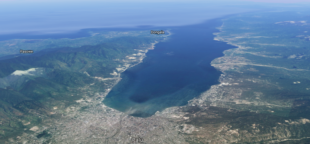 A satellite image to show the location of Palu