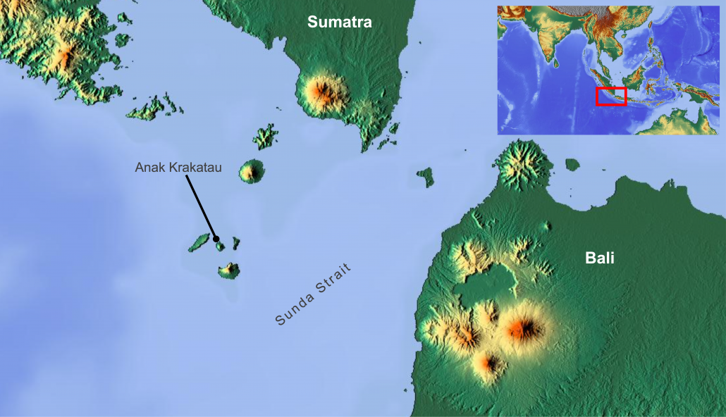 A map to show the location of Anak Krakatau