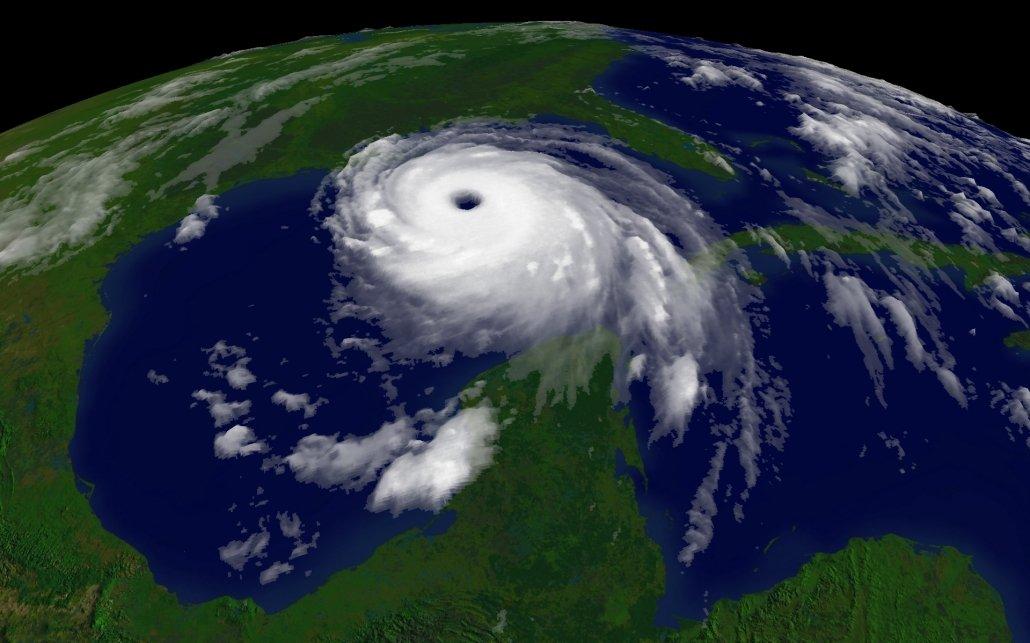 A satellite image of Hurricane Katrina.