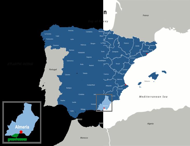 Map Of Spain Almeria.Almeria In Spain A Large Scale Agricultural Development Internet