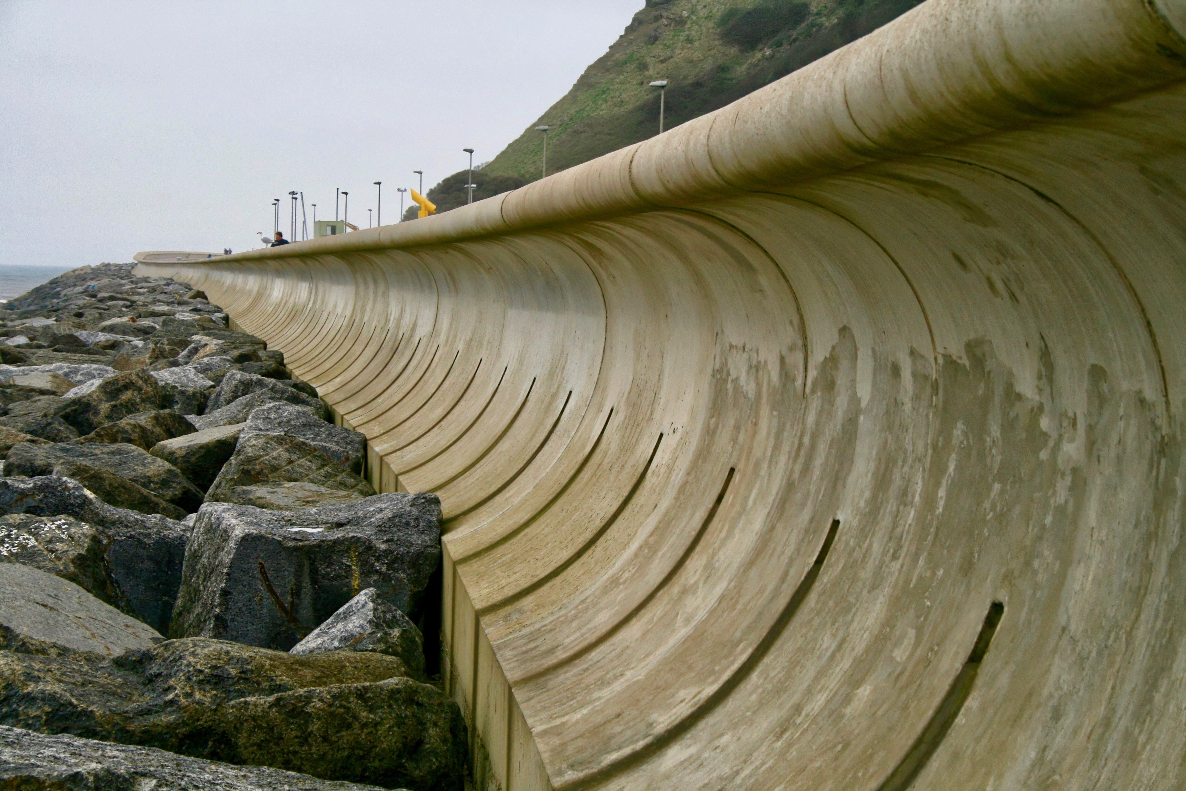Recurved sea wall at Scarborough