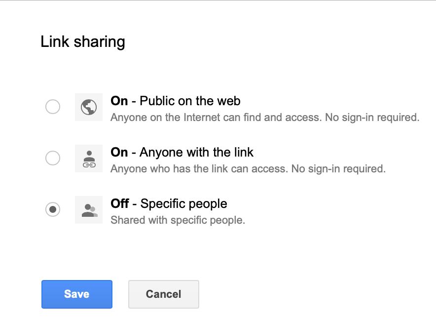 Link sharing options