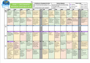 Geography Revision Timetable 2019