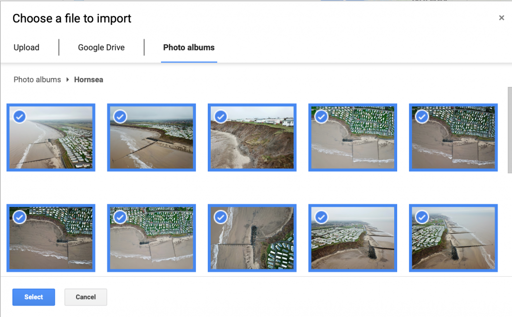 Select images you want to import