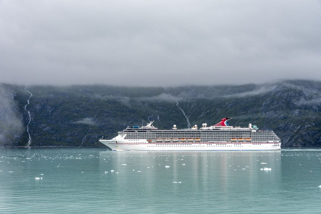 A cruise ship approaching Alaska