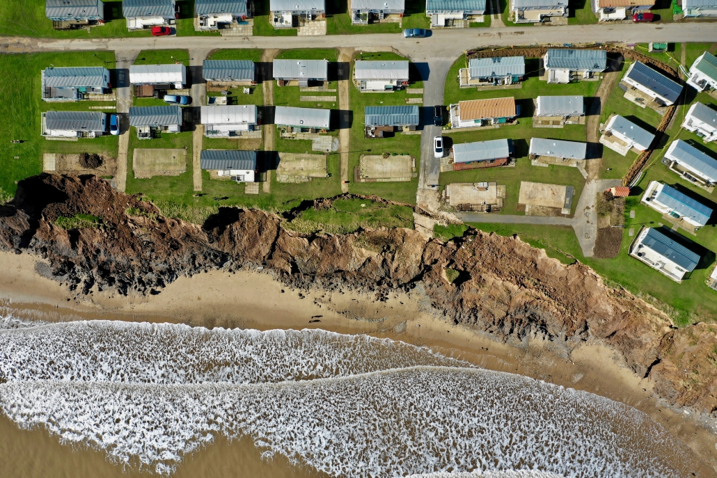Aerial view of slumping at Hornsea