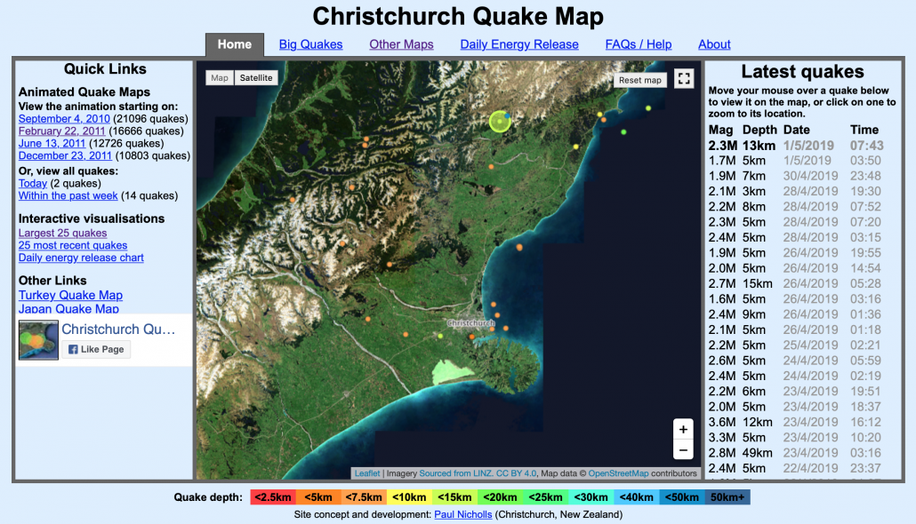 Christchurch Earthquake Animated Map