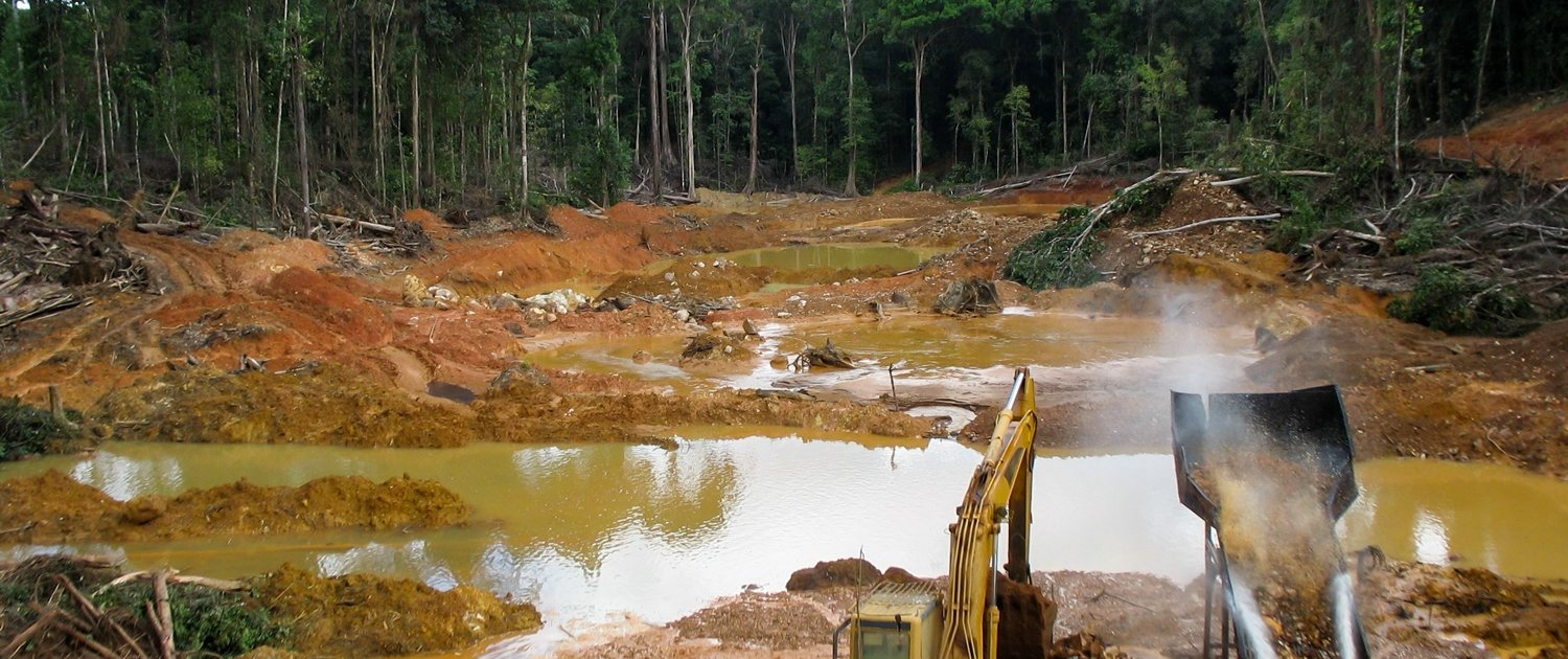Gold mining in the Amazon Rainforest