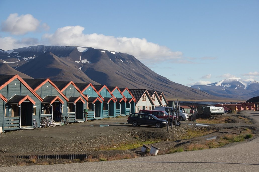 A row of wooden houses at Svalbard