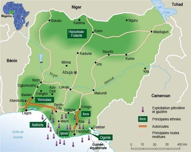 Map of Nigeria with pricipal ethnic groups and oil & gas resources. Credit: Le Monde, Paris