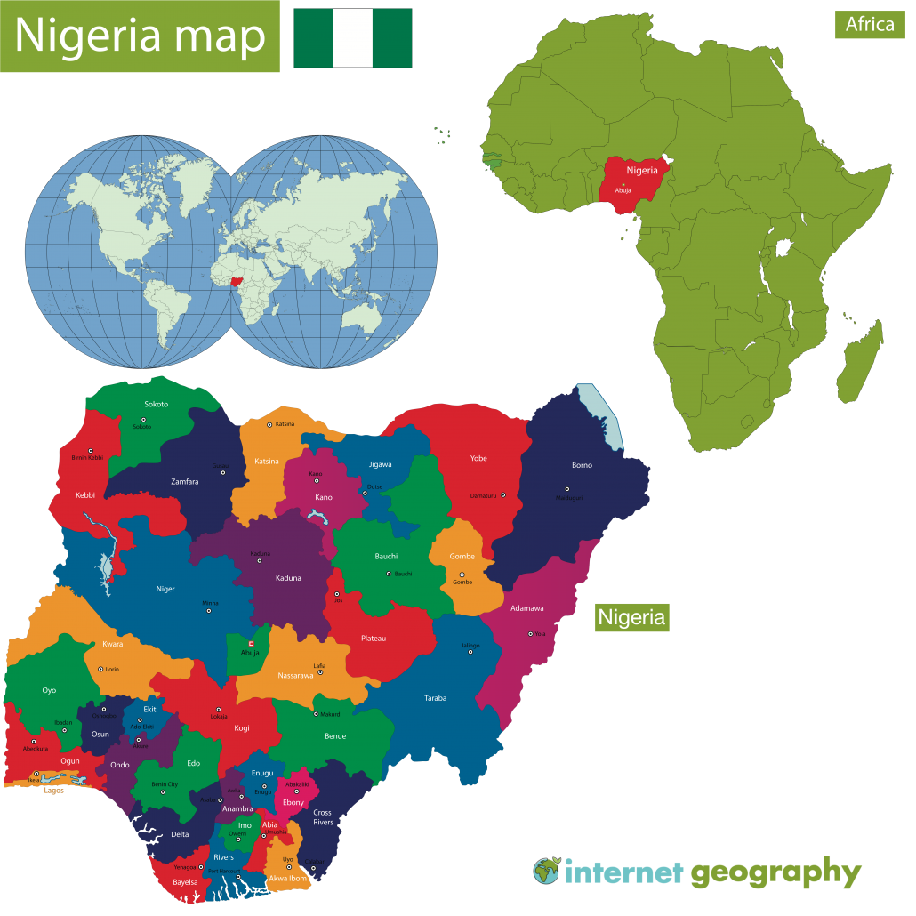 A map to show the location of Nigeria