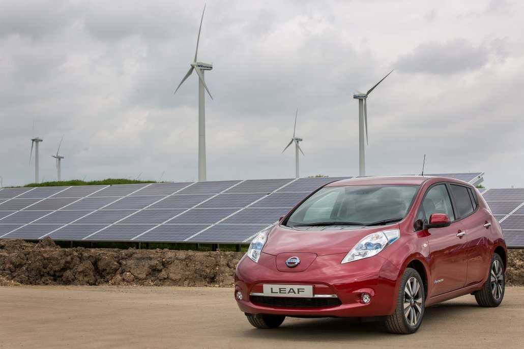 Wind turbines, solar panels and the Nissan Leaf at the Nissan factory, Sunderland