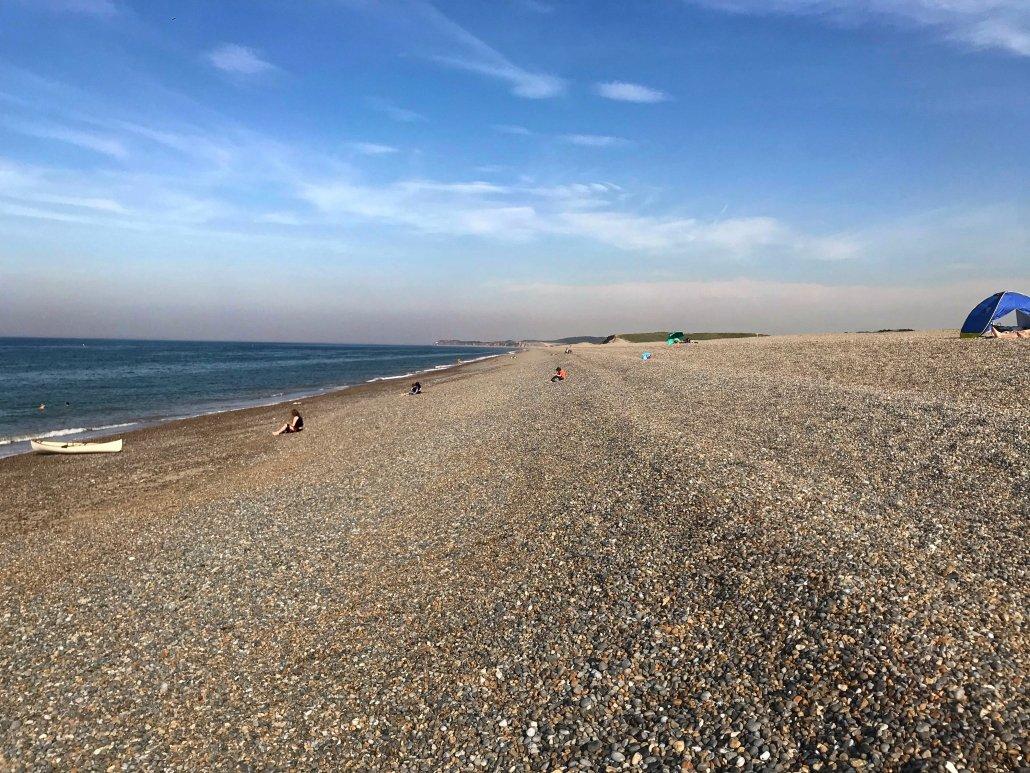 Salthouse Beach - a steep shingle beach with a series of berms.
